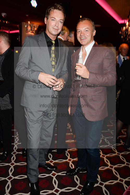 Left to right, JULIAN CLARY and GRAHAM NORTON at a party to celebrate the publication of 'Passion for Life' by Joan Collins held at No41 The Westbury Hotel, Mayfair, London on21st October 2013.