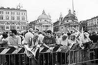ROME, ITALY - 22 MAY 2014:  Comizio del Presidente del Consiglio e Segretario del Partito Democratico Matteo Renzi a Piazza del Popolo, a Roma il 22 maggio 2014.