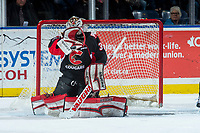 KELOWNA, CANADA - FEBRUARY 20: Taylor Gauthier #35 of the Prince George Cougars makes a first period glove save against the Kelowna Rockets  on February 20, 2018 at Prospera Place in Kelowna, British Columbia, Canada.  (Photo by Marissa Baecker/Shoot the Breeze)  *** Local Caption ***