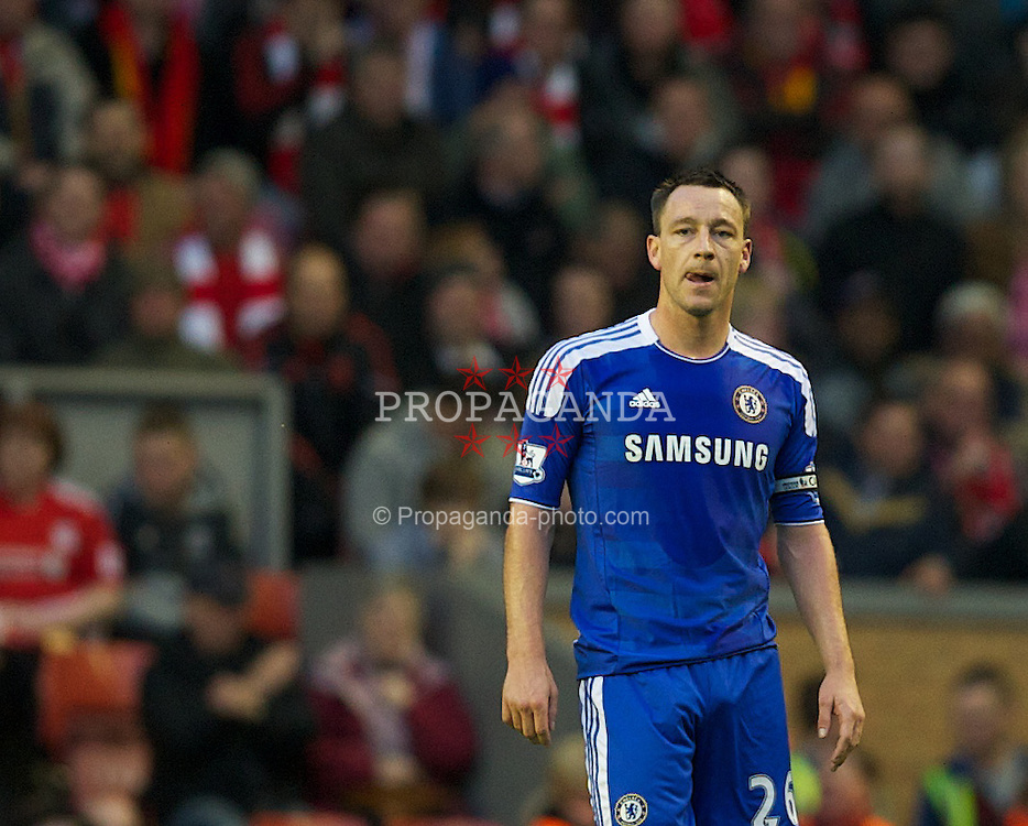 LIVERPOOL, ENGLAND - Tuesday, May 8, 2012: Chelsea's John Terry looks dejected after his mistake led to Liverpool' second goal during the final home Premiership match of the season at Anfield. (Pic by David Rawcliffe/Propaganda)