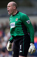 Photo. Glyn Thomas, Digitalsport.<br /> Blackburn Rovers v Leicester City. <br /> FA Barclaycard Premiership. 17/04/2004.<br /> Blackburn keeper Brad Friedel is delighted with his side's vital 1-0 win.