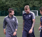 Dundee manager Neil McCann has a laugh with Scott Bain during pre-season testing at University Grounds, Riverside, Dundee, Photo: David Young<br /> <br />  - &copy; David Young - www.davidyoungphoto.co.uk - email: davidyoungphoto@gmail.com