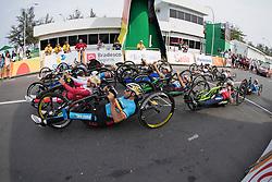Cycling, Road Race, H3, Start, DEBERG Jean-Francois, BEL, PODESTA Vittorio, ITA, ABLINGER Walter, AUT à Rio 2016 Paralympic Games, Brazil