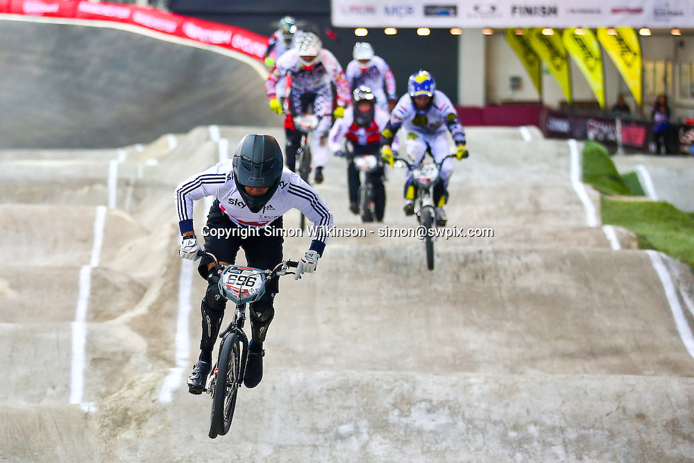 Picture by Alex Whitehead/SWpix.com - Cycling - 2014 UCI BMX Supercross World Cup - National BMX Centre, Manchester, England - 18/04/14 - Action, Great Britain's Tre White leads the pack.
