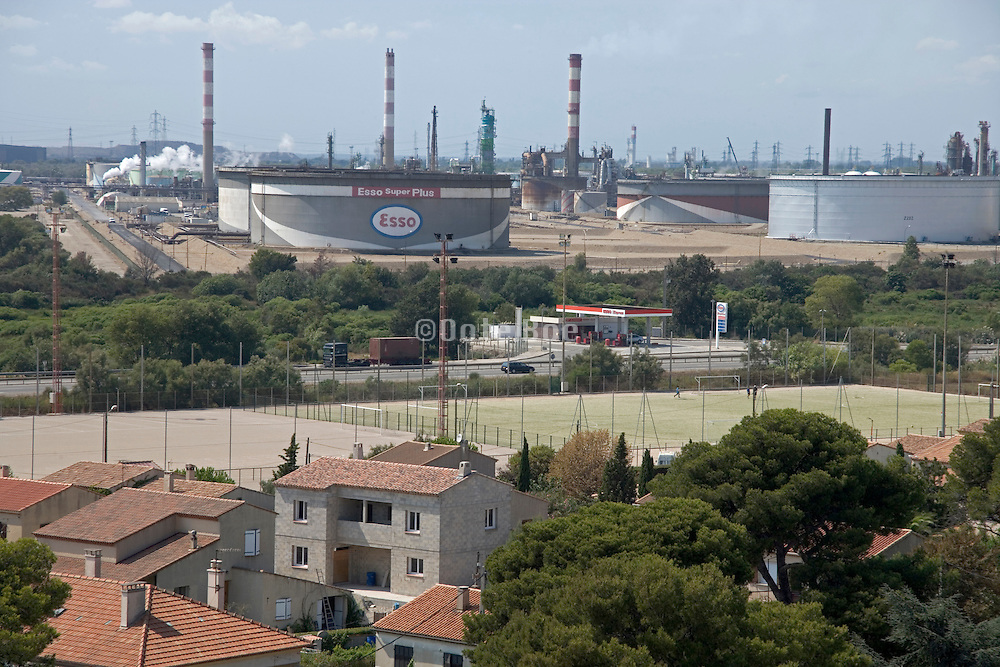 a village close to a oil refinery France Provence