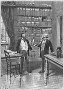 Elisha Gray (1835-1901), American inventor, presenting the caveat for his telephone, 1876. Gray arrived at the US Patent Office at 4pm on 14 February 1876, just two hours after Alexander Graham Bell (1847-1922) had presented his own caveat for a telephone. From 'Les Nouvelles Conquetes de la Science'. Louis Figuier, (Paris, c1890). Engraving