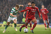James Forrest and Shay Logan fight for the ball during the Betfred Cup Final between Celtic and Aberdeen at Hampden Park, Glasgow, United Kingdom on 2 December 2018.