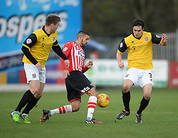 Exeter City's Liam Sercombe wins the ball against Northampton's Evan Horwood - Photo mandatory by-line: Alex James/JMP - Mobile: 07966 386802 - 10/01/2015 - SPORT - football - Exeter - St James Park - Exeter City v Northampton - Sky Bet League Two