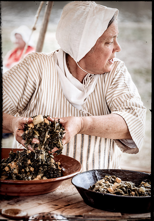 Preparing an authentic 18th century meal at the 2017 Battle of Guilford Courthouse Reenactment.