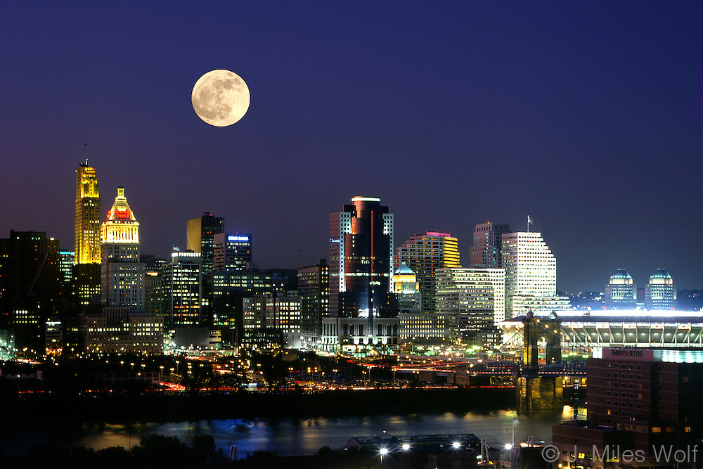Cincinnati Skyline at night under a full moon