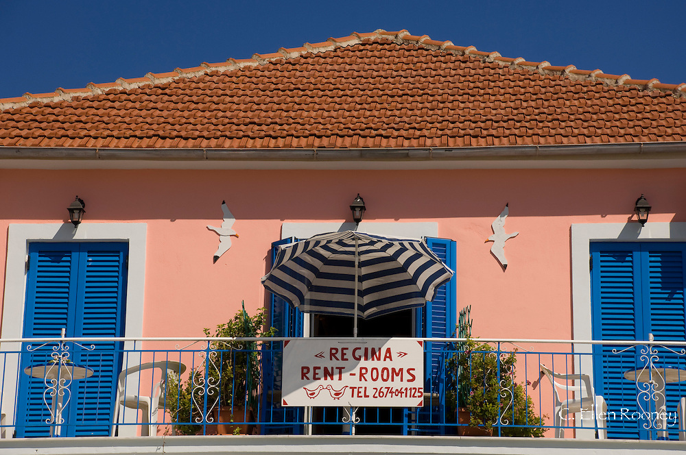 A rooms for rent sign in Fiskardo, Kefalonia, The Ionian Islands, Greece