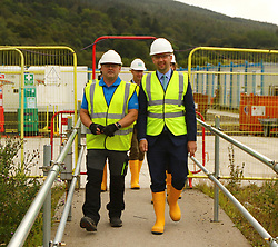 Ben macpherson minister for migration at scottish sea farms hatchery with Ewen Leslie Engineering Manager Freshwater  and  on the ministers visit to      Argyll and Bute  picture kevin mcglynn