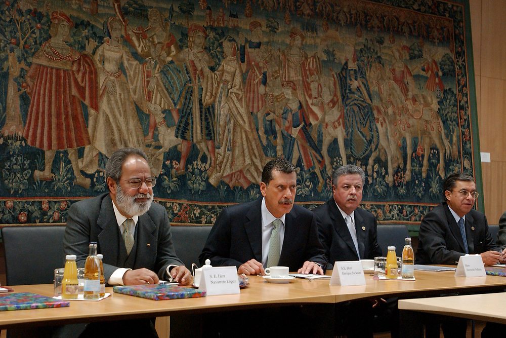12 MAY 2003, BERLIN/GERMANY:<br /> Senator Enrique Jackson (2nd Person from left), President of the Senat of Mexico, and Jorge Eduardo Navarrete (L), Ambassador of Mexico in Germany, during a meeting with Prof. Dr. Wolfgang Boehmer [Wolfgang Böhmer] (not in the picture), President of the Bundesrat (the second chamber of the Federal Republic of Germany, representing the 16 States of Germany) und Minister President of Sachsen-Anhalt, Building of the Bundesrat<br /> IMAGE: 20030512-01-011