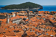 Elevated view of historic Dubrovnik, Croatia and the Adriatic Sea. A UNESCO World Heritage Site.