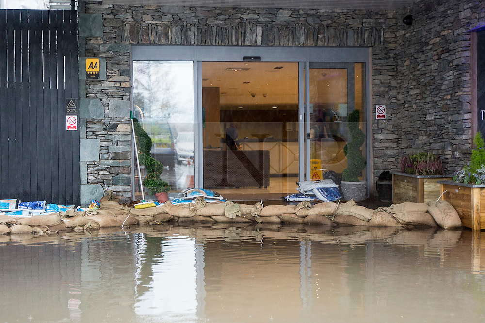 © Licensed to London News Pictures. 15/11/2015. Ambleside UK. Picture shows the Daffodil Hotel in Ambleside that was evacuated last night after flooding. More rain is expected & the Environment agency have issued alerts for the area. Photo credit: Andrew McCaren/LNP