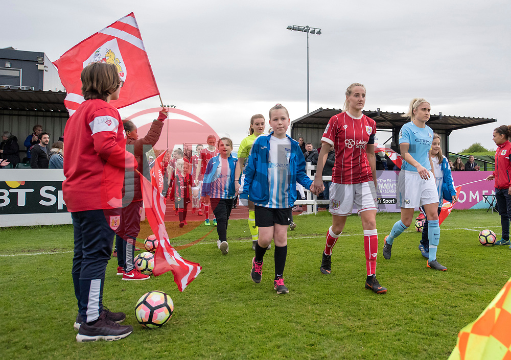 Players and mascots make their way to the pitch at Stoke Gifford Stadium - Mandatory by-line: Paul Knight/JMP - 03/05/2018 - FOOTBALL - Stoke Gifford Stadium - Bristol, England - Bristol City Women v Manchester City Women - FA Women's Super League 1
