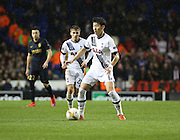 Tottenham Hotspur forward Heung-Min Son weighing up his options during the Europa League match between Tottenham Hotspur and Monaco at White Hart Lane, London, England on 10 December 2015. Photo by Matthew Redman.