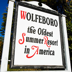 Wolfeboro sign on NH Route 28, Wolfeboro, New Hampshire.