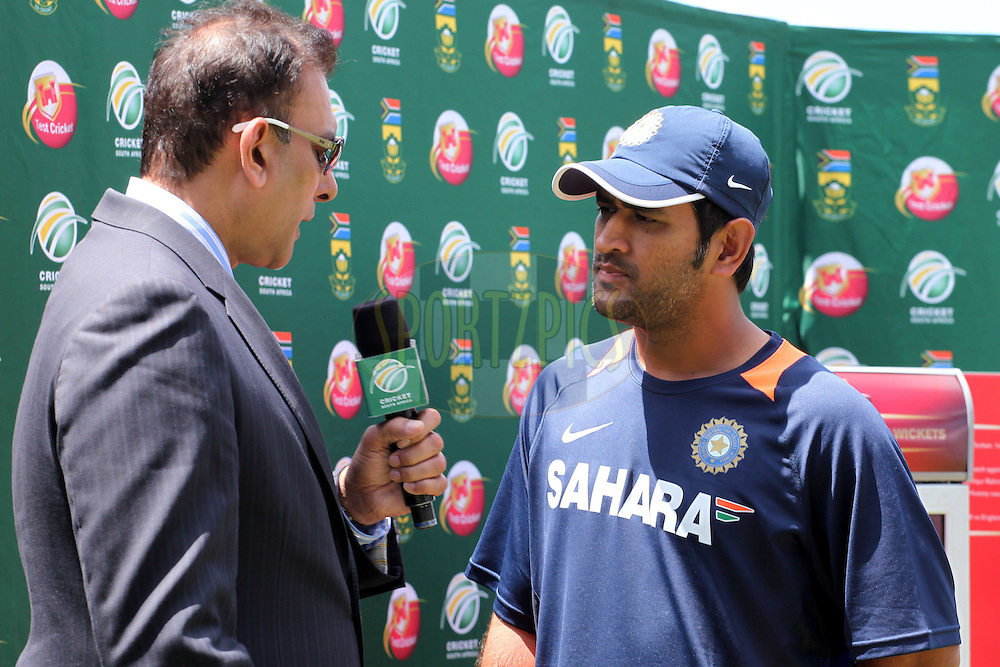 Ravi Shastri interviews MS Dhoni of India during day 5 of the first ( 1st ) Test Match between South Africa and India held at Supersport Park in Centurion, Gauteng, South Africa on the 20th December 2010..Photo by Ron Gaunt/BCCI/SPORTZPICS