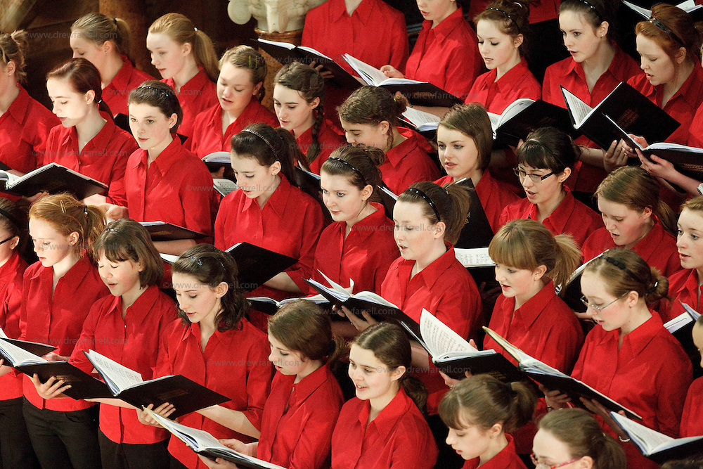 NYCoS National Girls Choir  pictured at St Cuthbert's Parish Church, Edinburgh. Conducted by Christopher Bell ( Artistic Director and Conductor)..18th April 2009...© Drew Farrell    Tel :  07721-735041.If you require any more information please contact Ruth Townsend @The National Youth Choir of Scotland Tel : 0141 287 2856.Note to Editors:  This image is free to be used editorially in the promotion of The National Youth Choir of Scotland. Without prejudice ALL other licences without prior consent will be deemed a breach of copyright under the 1988. Copyright Design and Patents Act  and will be subject to payment or legal action, where appropriate.....