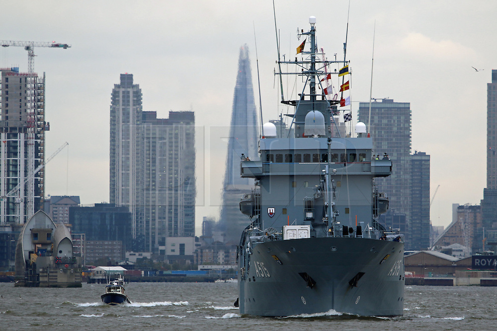 © Licensed to London News Pictures. 18/04/2016. A German navy ship is seen sailing down the Thames this morning after a weekend long stay in London. FGS Main departed West India Docks at 11am after a task group visit to the capital with two other ships, FGS Siegburg and FGS Pegnitz. Credit : Rob Powell/LNP