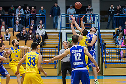 Bolcina Tomaz of KK Tajfun Sentjur and Pavic Smiljan of KK Sencur GGD during basketball match between KK Sencur  GGD and KK Tajfun Sentjur for Spar cup 2016, on 16th of February , 2016 in Sencur, Sencur Sports hall, Slovenia. Photo by Grega Valancic / Sportida.com