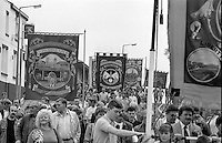 Manton, Notts Area and Mines Rescue banners. 1990 Yorkshire Miner's Gala. Rotherham.
