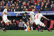 Manchester United Forward Alexis Sanchez battles with Sevilla defender Clement Lenglet (5) during the Champions League match between Sevilla and Manchester United at the Ramon Sanchez Pizjuan Stadium, Seville, Spain on 21 February 2018. Picture by Phil Duncan.