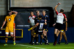 Scott van Breda of Worcester Cavaliers celebrates with teammates after scoring a try - Mandatory by-line: Robbie Stephenson/JMP - 16/12/2019 - RUGBY - Sixways Stadium - Worcester, England - Worcester Cavaliers v Wasps A - Premiership Rugby Shield