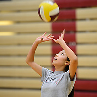 080514       Cayla Nimmo<br /> <br /> Haelee Horece warms up during volleyball camp at Rehoboth Tuesday morning.