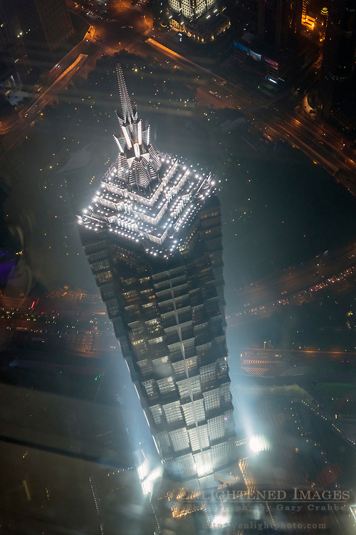 Jin Mao Tower lit up at night, Pudong District, Shanghai, China