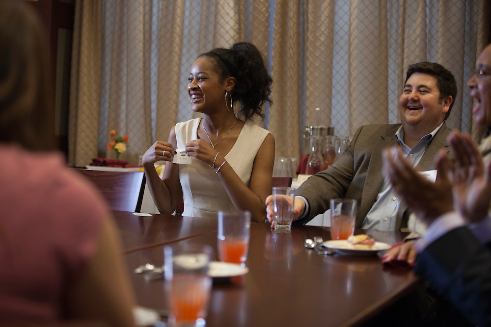Jalen Perkins, a chemical engineering student, laughs with Thomas Raimondi,<br /> coordinator for leadership and scholar development for the Office for Multicultural Student<br /> Access and Retention, during a meeting with President McDavis and First Lady Deborah McDavis in the President's Dining Room in Baker Center on Wednesday, November 2, 2016. ©Ohio University / Photo by Kaitlin Owens
