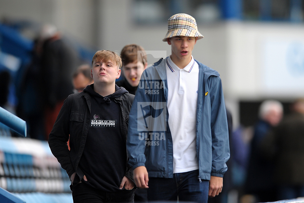 TELFORD COPYRIGHT MIKE SHERIDAN Spennymoor fans during the Vanarama National League Conference North fixture between AFC Telford United and Spennymoor Town on Saturday, November 16, 2019.<br /> <br /> Picture credit: Mike Sheridan/Ultrapress<br /> <br /> MS201920-030