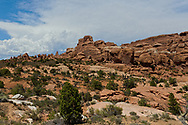 Arches National Park, Utah,Rugged rocky desert landscape.