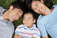 Couple with son (7-9) lying on grass portrait elevated view