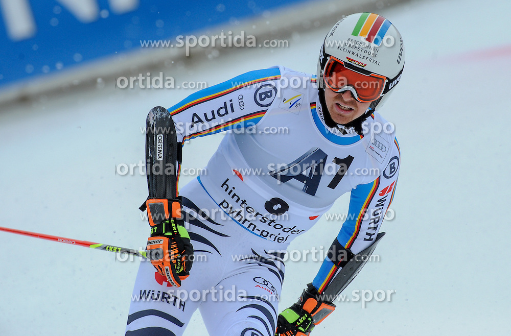 28.02.2016, Hannes Trinkl Rennstrecke, Hinterstoder, AUT, FIS Weltcup Ski Alpin, Hinterstoder, Riesenslalom, Herren, 2. Lauf, im Bild Stefan Luitz (GER) // Stefan Luitz of Germany reacts after his 2nd run of men's Giant Slalom of Hinterstoder FIS Ski Alpine World Cup at the Hannes Trinkl Rennstrecke in Hinterstoder, Austria on 2016/02/28. EXPA Pictures © 2016, PhotoCredit: EXPA/ Erich Spiess