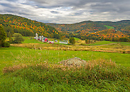 View of fall colors and Hillside Acres farm in Barnet, VT.