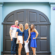 Family portraits of the Frailinger family in downtown Charleston, South Carolina.