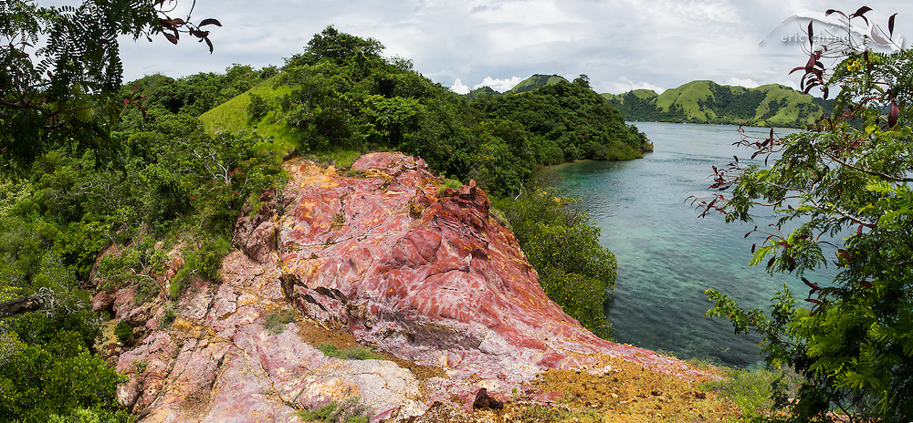 "An unusual rock formation on the south-east corner of Pulau Nisapurung, Indonesia, which we called ""Strawberry Rock."" Some parts of the rock contained large amounts of oxidized iron."