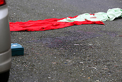 © Licensed to London News Pictures. 04/01/2020. London, UK. Blood stains on Charteris Road, near the junction with Lennox Road, Finsbury Park in north London. Police launch a murder investigation following a death of a man in his 30s on Friday 3 January 2020. Police were called at approximately 6.50pm to reports of a man stabbed and the he was pronounced dead at the scene just after 7.30pm.  Photo credit: Dinendra Haria/LNP
