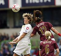 Photo: Chris Ratcliffe.<br /> Leeds United v Arsenal. Womens' FA Cup Final. 01/05/2006.<br /> Alex Scott (R) of Arsenal beats Karen Walker of Leeds to the ball.