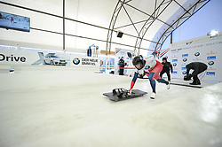 February 23, 2019 - Calgary, Alberta, Canada - An athlete starts her race during the first heat runs at BMW IBSF SKELETON WORLD CUP Calgary Canada 23.02.2019 (Credit Image: © Russian Look via ZUMA Wire)