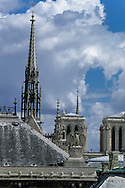 France. Paris. 1st district. Elevated view.  Notre dame cathedral, Sainte chapelle, justice palace eagle. . city island