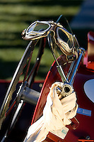 PEBBLE BEACH, CA - AUGUST 19: Goggles and a scarf sit atop a 1939 Aston Martin 2 Litre Speed Model Monoposto at the 2007 Pebble Beach Concours d'Elegance on August 19, 2007 in Pebble Beach, California.  (Photo by David Paul Morris)