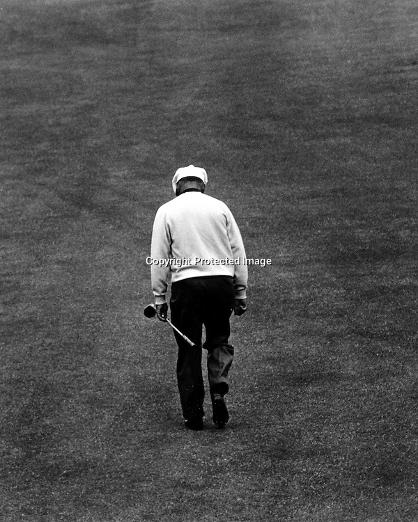 Golfing legend Ben Hogan walks down the fairway at the Olympic Club in San Francisco during the 1966 U.S.Open Golf Championship.(copyright photo 1966 by Ron Riesterer)