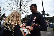 Callum Wilson (13) of AFC Bournemouth signing autographs on arrival before the Premier League match between Bournemouth and Tottenham Hotspur at the Vitality Stadium, Bournemouth, England on 11 March 2018. Picture by Graham Hunt.