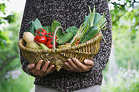 Man holding fruit and vegetable basket mid section close-up