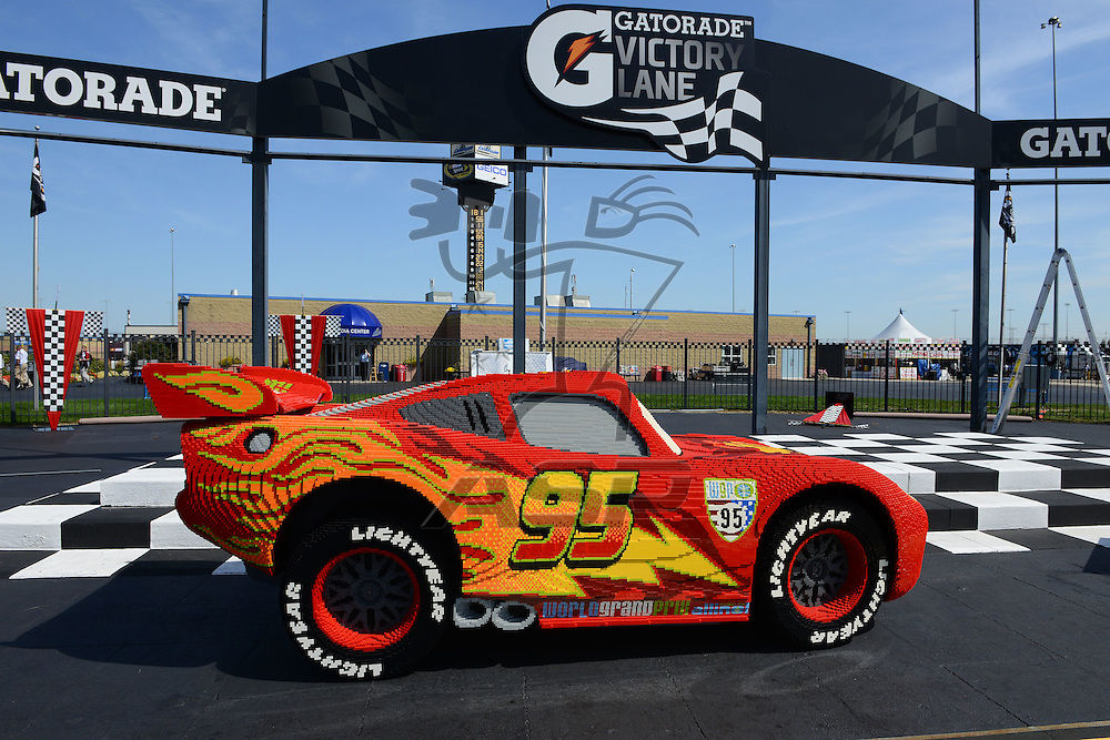 "Joliet, IL - SEP 14, 2012: The character ""Lighting McQueen"" during practice for the Geico 400 at the Chicagoland Speedway in Joliet, IL."