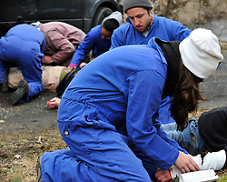 Students participate in a mock car crash scenario as part of the Hostile Environments First Aid Training course on Thursday, March 26th, 2015 in Hellertown, Pa. Photo By | CHRIS POST