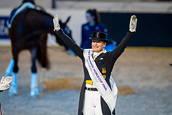 Werth Isabell, GER<br /> Göteborg - Gothenburg Horse Show 2019 <br /> FEI Dressage World Cup™ Final II<br /> Grand Prix Freestyle/Kür - Prix giving ceremony<br /> Longines FEI Jumping World Cup™ Final and FEI Dressage World Cup™ Final<br /> 06. April 2019<br /> © www.sportfotos-lafrentz.de/Stefan Lafrentz